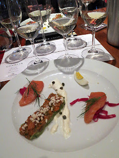 Chablis paired with Gravlax & Spicy Salmon Tartare, Avocado, Egg, Lemon Crème Fraîche, Pickled Onion and Capers