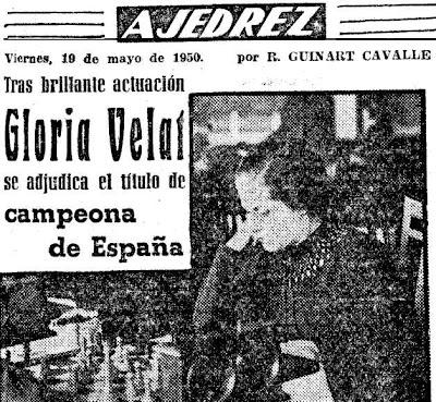 Artículo de Ricard Guinart Cavallé en Mundo Deportivo donde destaca la victoria de Gloria Velat en el I Campeonato de España de Ajedrez Femenino 1950