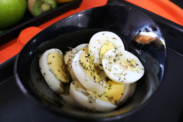 Sliced Hard Boiled Eggs with Herbs