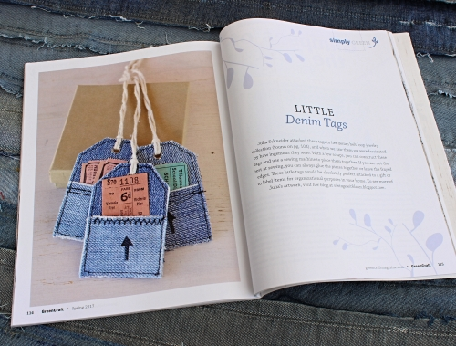Upcycled Denim Tags by Vintage with Laces in GreenCraft Magazine Spring 2017