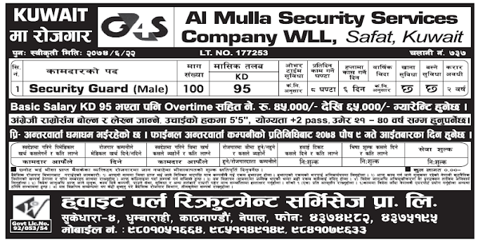 Jobs in Kuwait for Nepali, Salary Rs 45,000