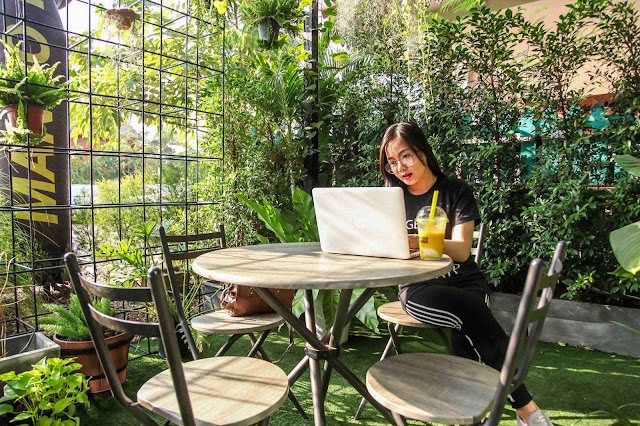 beautiful girl with laptop outdoor
