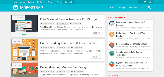 MDFostrap Responsive Free Material Design Blogger Template Warna Biru Muda
