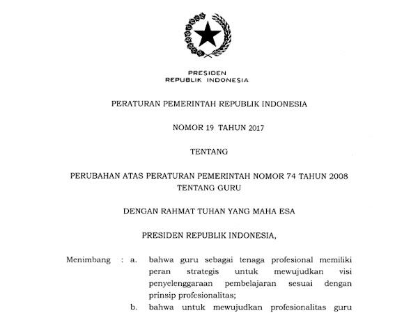 Peraturan Pemerintah Nomor 19 Tahun 2017 Tentang Guru