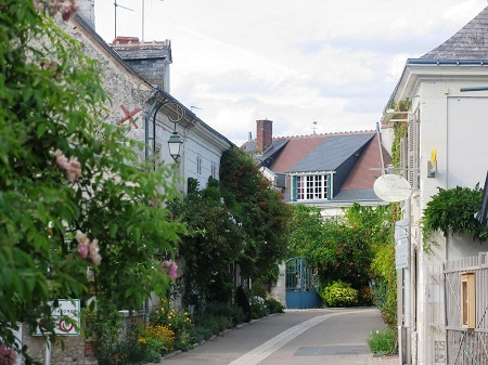 Street in the village of Chedigny in the Loire Valley,France during the rose festival