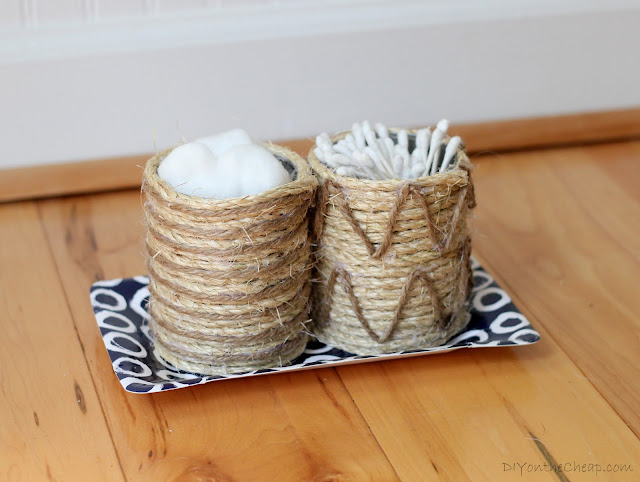 Rope & Twine Tin Can Storage Containers: A quick, easy and inexpensive craft via DIYontheCheap.com