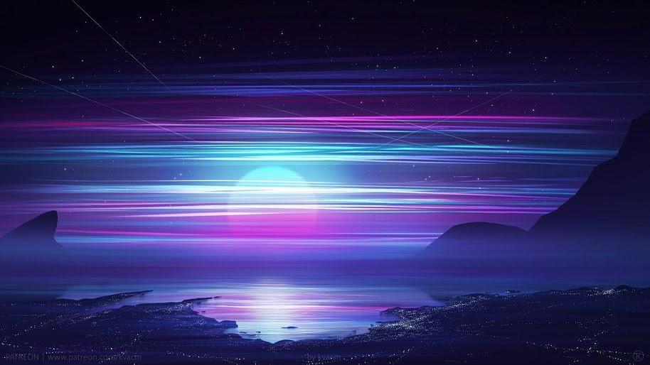 Horizon Synthwave Retrowave Night Digital Art 4k Wallpaper 86