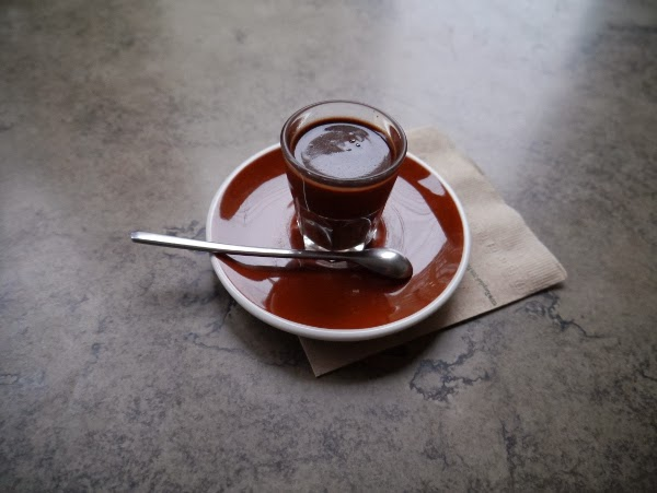 Spiced Mayan hot chocolate shot from Soma in Toronto