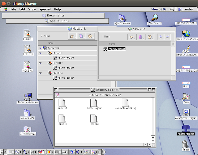 Mac OS 9 running in SheepShaver accessing shared files on three Ubuntu nodes over AppleTalk via netatalk
