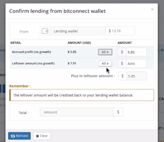 reinvest from the lending wallet in Bitconnect