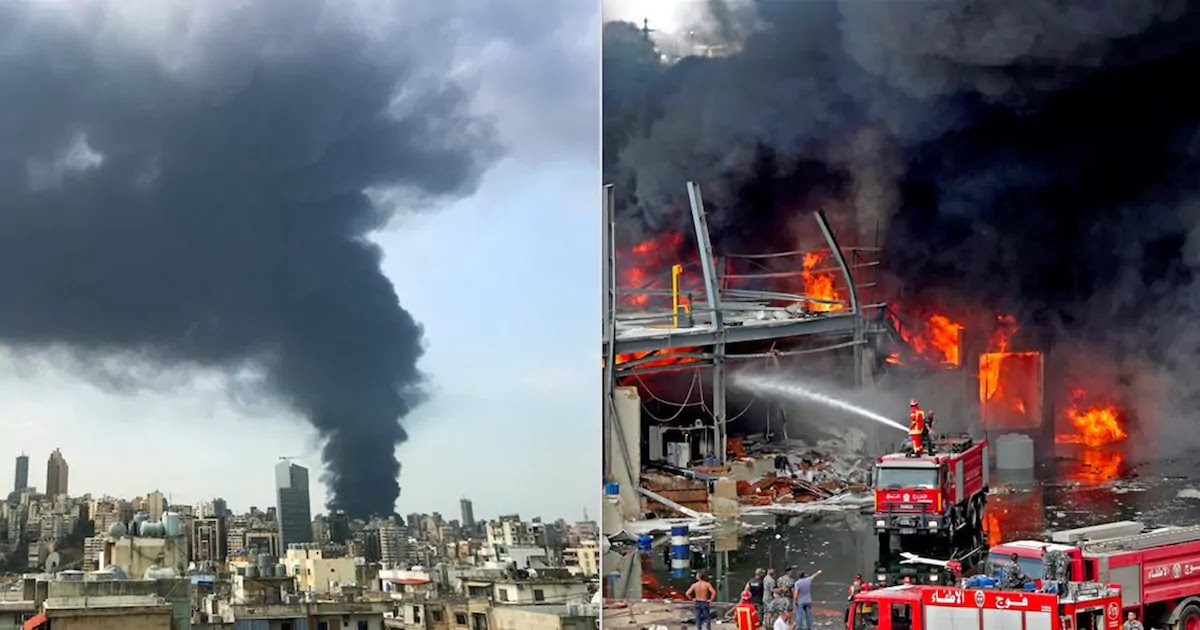 Beirut Fire Destroyed Red Cross Warehouse That Stocked Food And Oil Aid Destined For Those Who Survived Last Month's Explosion