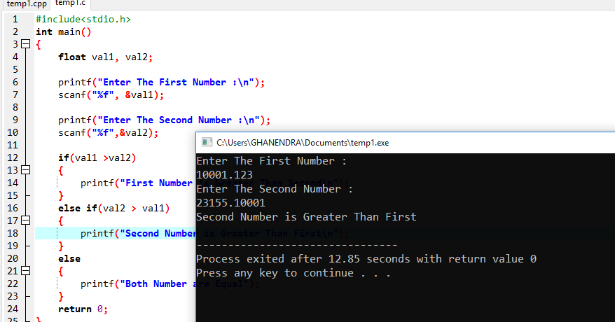 C Program For Check Greater Among Two Number