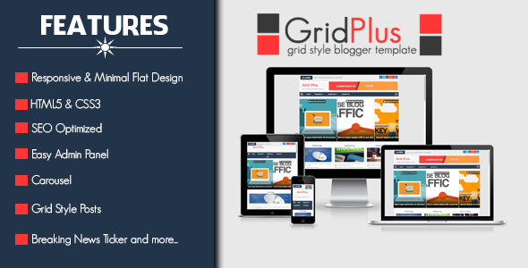 Grid Plus - Grid Style Responsive Free Blogger Template