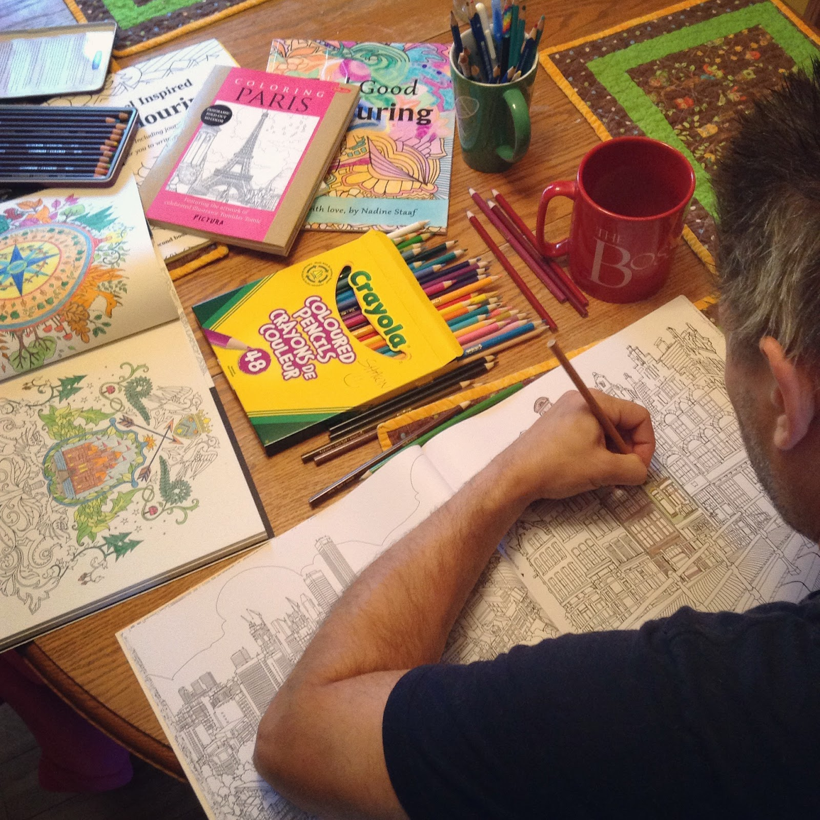 My Husband Enjoying Colouring In The Amsterdam Page