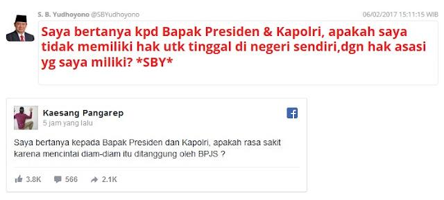 Status FB Kaesang Sindir SBY