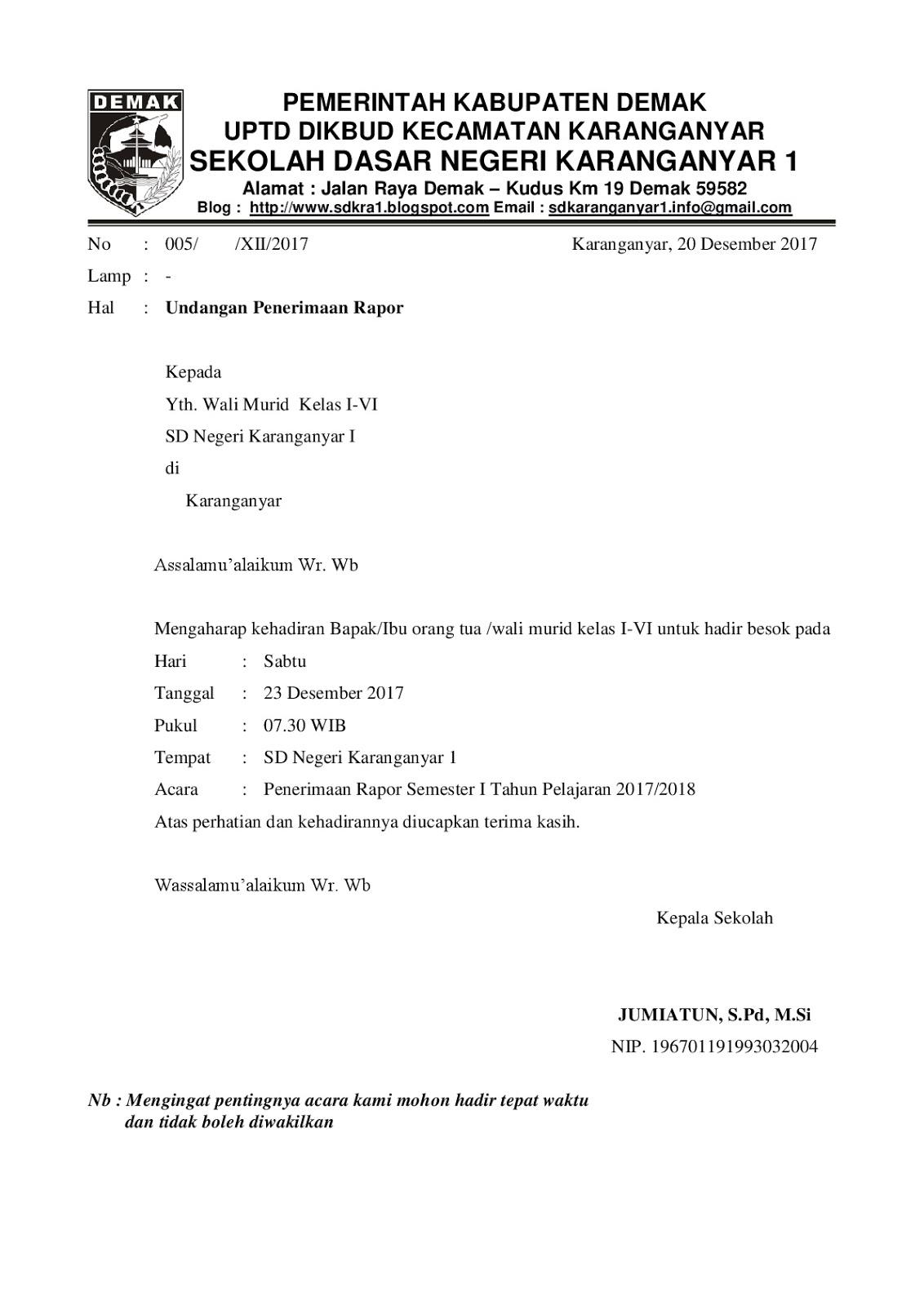 21+ Contoh Surat Undangan Pengambilan Raport Paud | Lucn ...