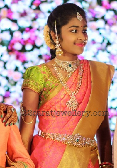 sridha reddy half sari function jewellery designs
