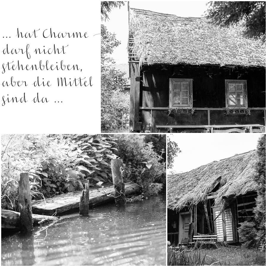 Blog + Fotografie by it's me! | fim.works | SchwarzWeissBlick No 19 | Lost Places im Spreewald , Brandenburg | Collage Holzhaus mit Reeddach