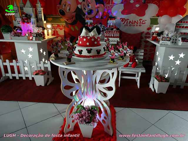 Tema de aniversário infantil Minnie Mouse - mesa decorada provençal -  festa infantil