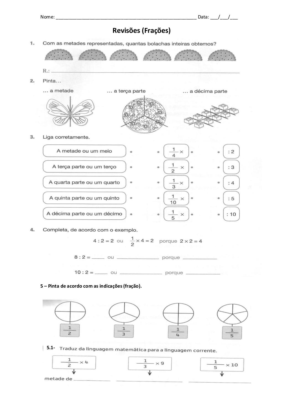 Ficha Com Frações Revisão 2º Ano Atividades De Matemática
