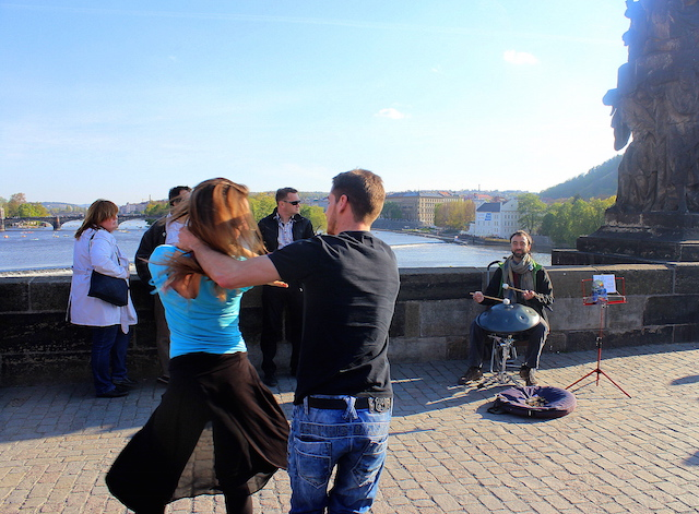 Dancers on Charles bridge Prague