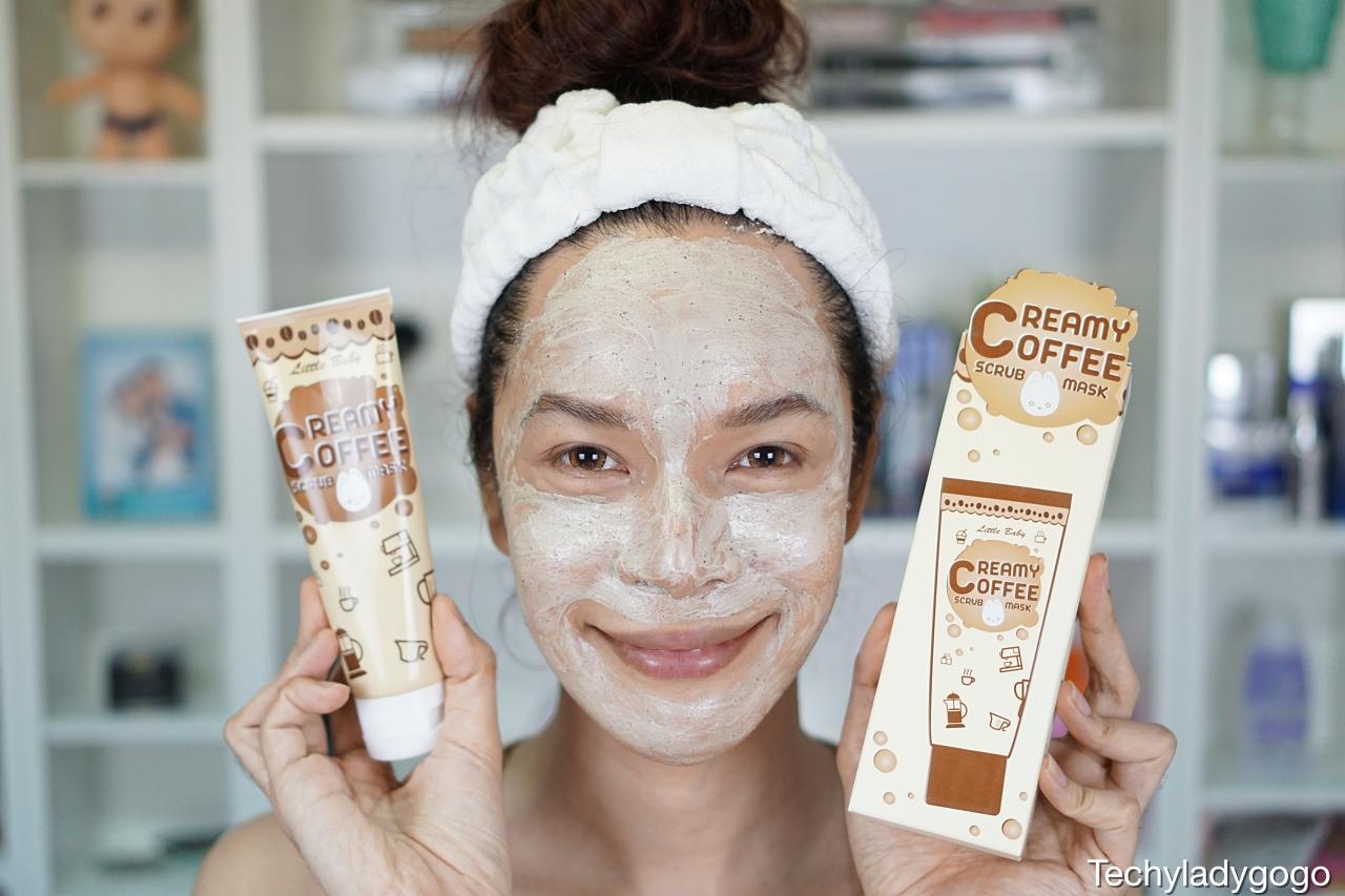 Techyladygogo รีวิว Little Baby Creamy Coffee Scrub Mask เป็นโฟมสครับ แบบ 3-in-1 ผสมสครับกาแฟ ใช้ได้ทั้ง ล้าง ขัด พอก ช่วยดีท็อกส์ผิว ทำความสะอาดรูขุมขน ลดความมัน ช่วยลดโอกาสการเกิดสิว