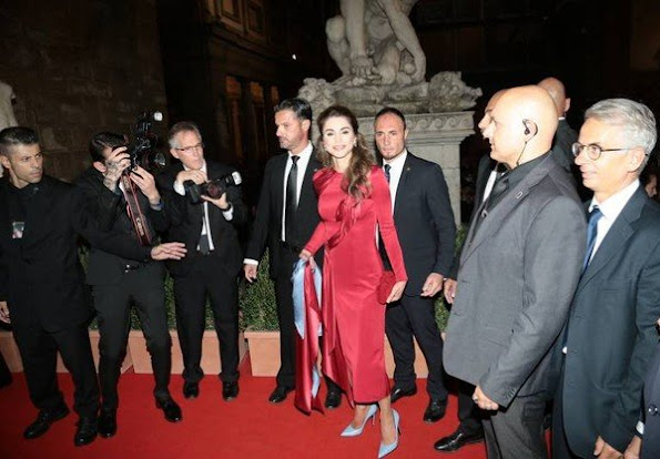Queen Rania of Jordan attended the Fight Night gala held for the benefit of the Andrea Bocelli Foundation and the Muhammed Ali Parkinson Center at Palazzo Vecchio