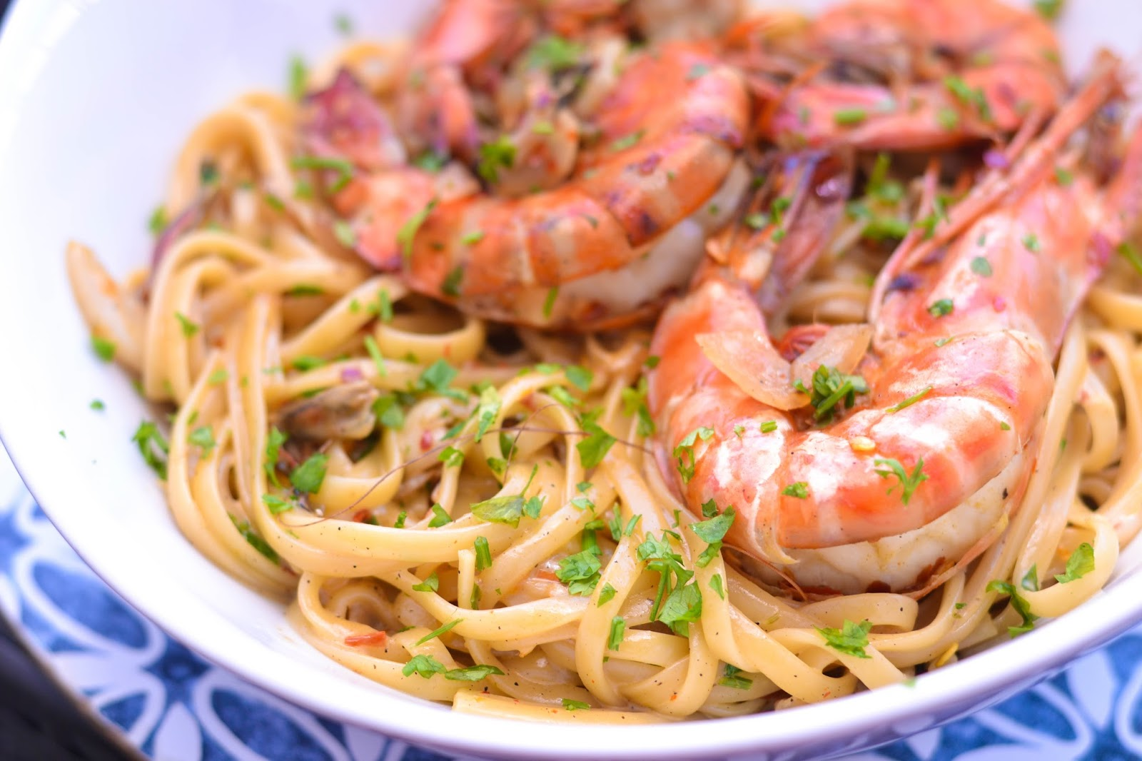 Seafood Pasta with Huge shelled King Prawns