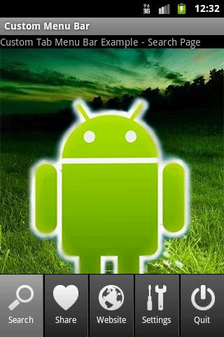Android Developer: How to make Custom Menu Bar –Tabs in
