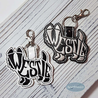 Westie Terrier Text-filled Key Fob, Purse Charm