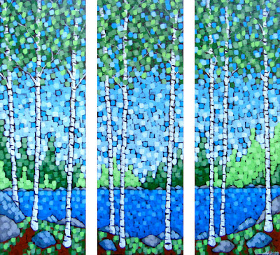 North Shore Spring painting by duluth artist aaron kloss, painting of birch trees at a lake in spring, pointillism, spring painting, sivertson gallery painting