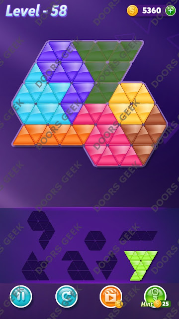 Block! Triangle Puzzle 7 Mania Level 58 Solution, Cheats, Walkthrough for Android, iPhone, iPad and iPod