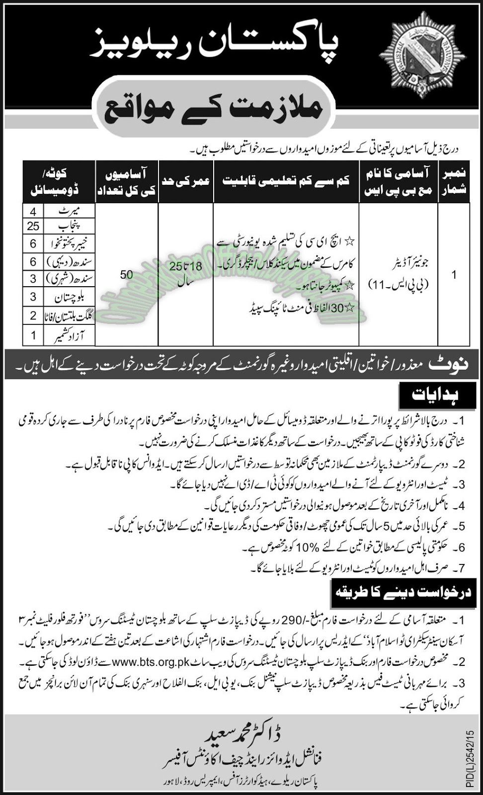 pakistan railways jobs in Lahore 2016
