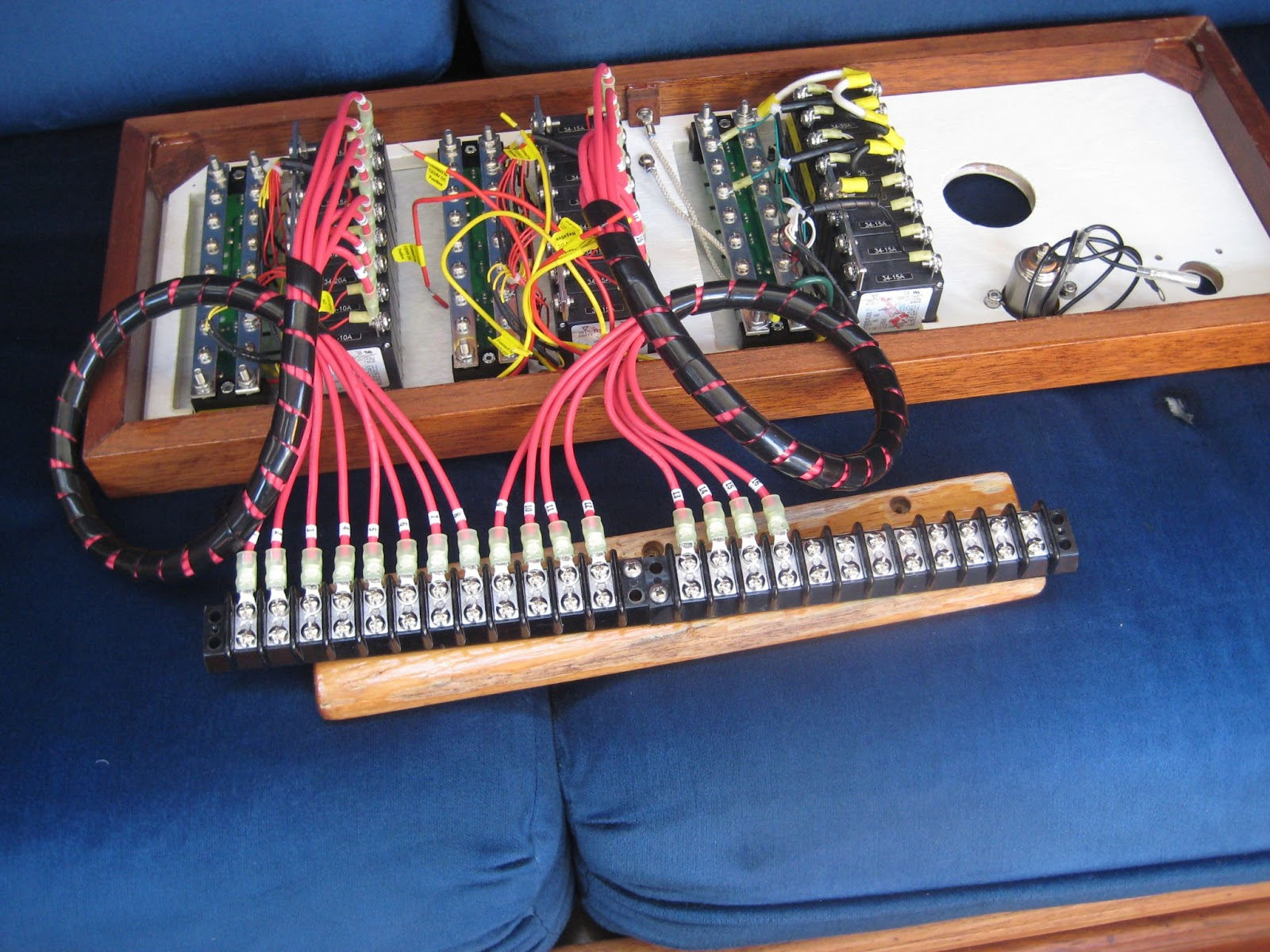 The Circe Chronicles May 2013 Numbered Wiring Harness We Decided To Use Terminal Strips Provide An Neat And Easy Way Of Joining Existing Boat Into New Dc Distribution Panels
