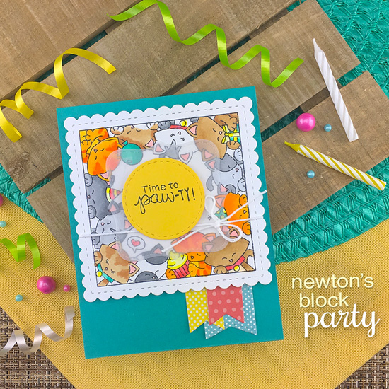 Kitty Birthday Card by Jennifer Jackson | Newton's Block Party Stamp Set and Frames Squared Die Set by Newton's Nook Designs #newtonsnook #handmade
