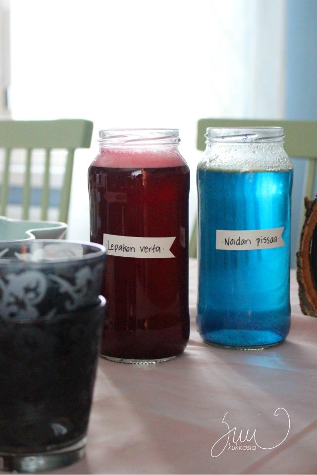 sinihernejauhe, sininen juoma