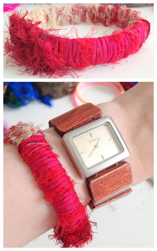 Sari+Yarn+Wrapped+Bangle+Tutorial DIY Yarn Bracelet Tutorials | 3 Different Bracelets From Sari and Shimmer Yarn
