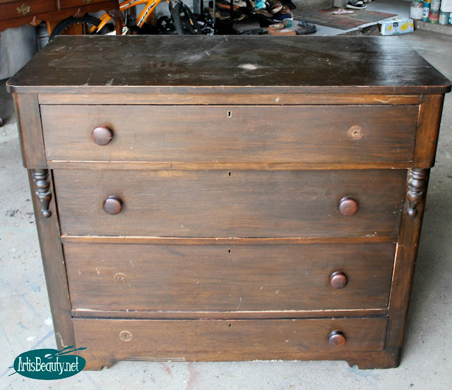industrial style beat up antique vintage dresser dark wood makeover paint boho style