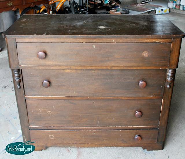 industrial style beat up antique vintage dresser dark wood makeover paint boho style