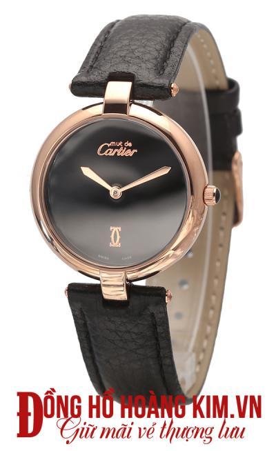 đồng hồ nữ dây da cartier mặt tròn