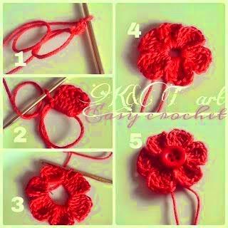 Flor fácil tejida como aplique