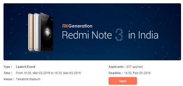 Xiaomi Redmi Note 3 Launch date in India