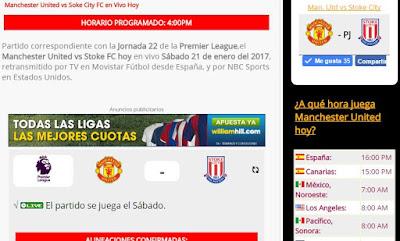 la web de los resultados del manchester united en vivo