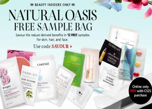 Sephora Free Natural Oasis Sampler Bag Promo Code