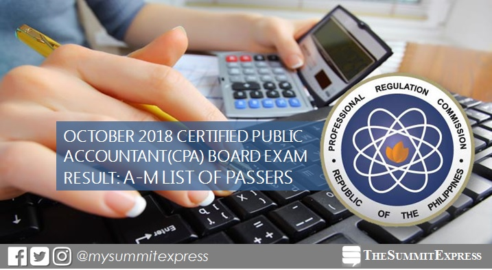 LIST OF PASSERS: A-M October 2018 CPA board exam result