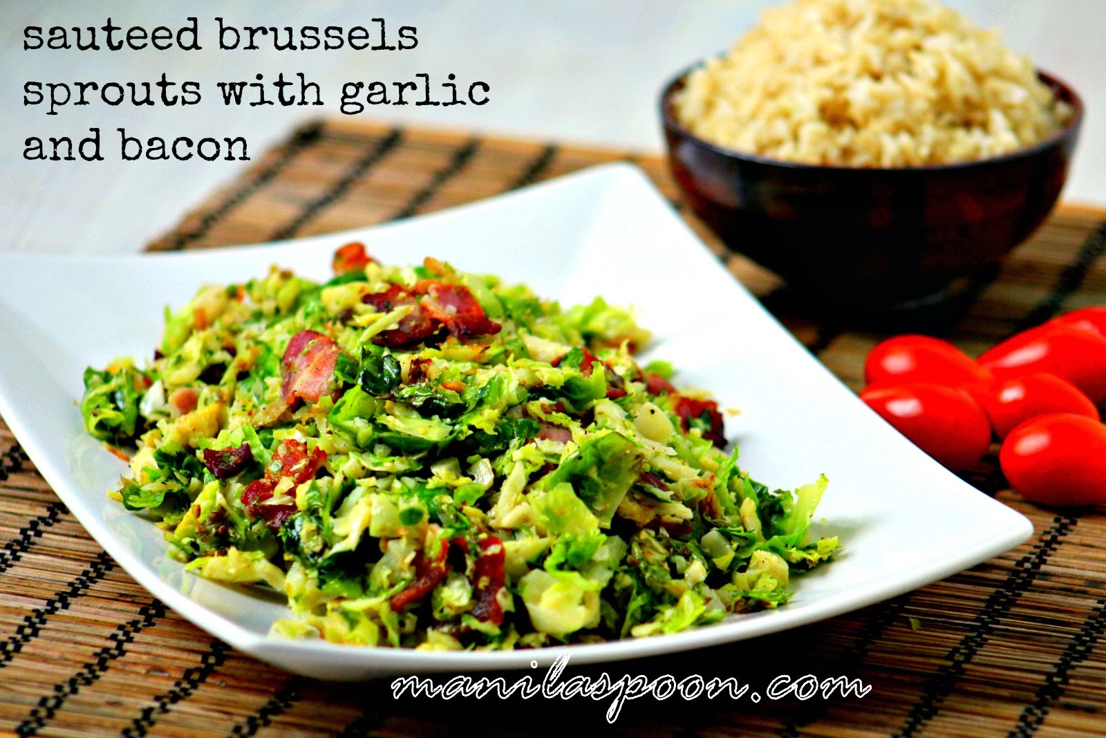 Full of bacon and garlicky deliciousness this sautéed Brussels Sprouts will please even non-brussels sprouts fan!! Done in 10 minutes or less, it's seriously tasty, too!