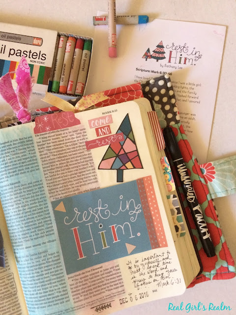 Bible Journaling using the Rest in Him devotional