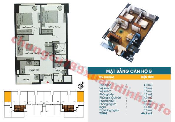 Thiết kế căn hộ B - Tòa CT2 - Diện tích 60.3m2 Chung cư 789 Xuân Đỉnh