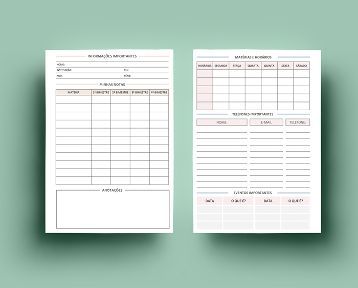 Planner Clean 2019 - Insert de estudos