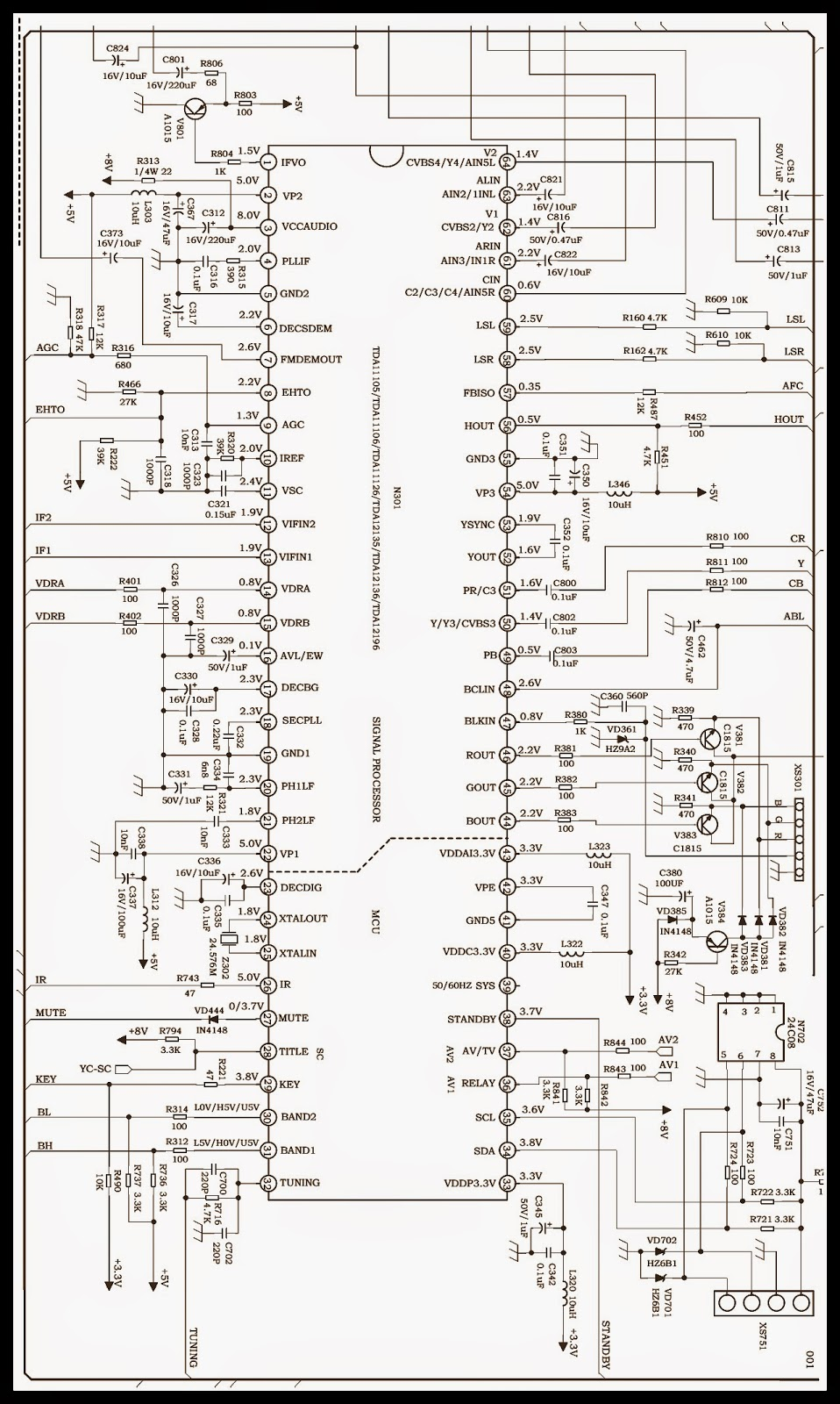 videocon tv circuit diagram